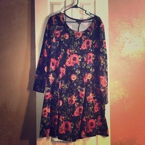 Plus size floral long sleeve dress